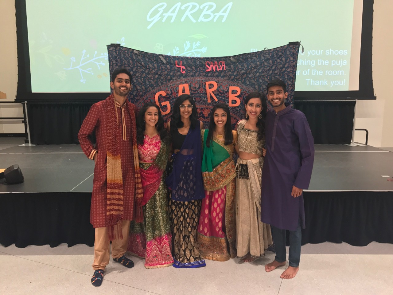 Rahul Sandella is shown with five other UC students at a Garba event.