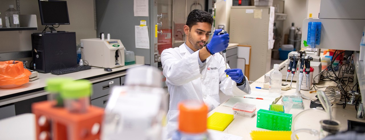 Rahul Sandella shown in a UC College of Medicine laboratory.