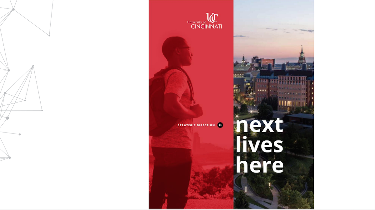 Slide shows male student wearing backpack and an aerial view of campus | Next Lives Here
