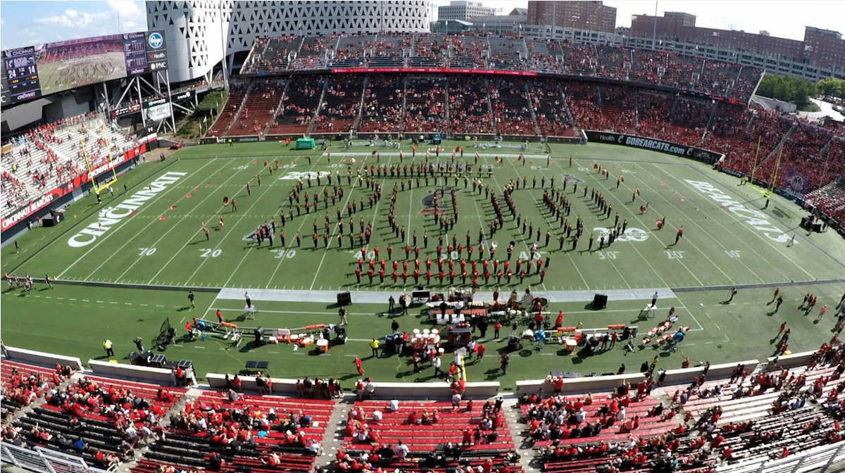 UC band performing at halftime inside UC's Nippert Stadium