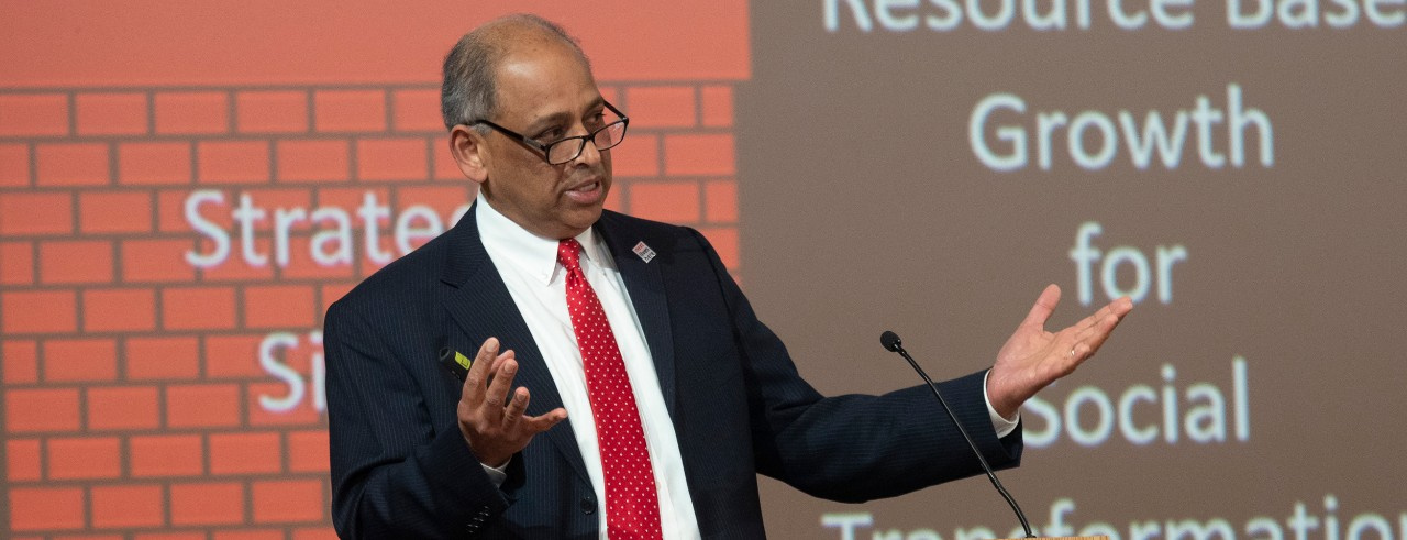 UC President Neville Pinto speaks at 2019 State of the University address.