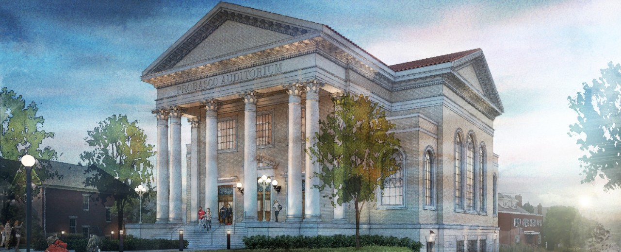 An artist's rendering of an exterior of Probasco Hall.