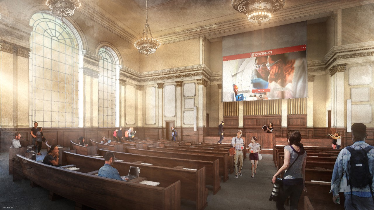 An artist's rendering of a large lecture room in Probasco Auditorium.