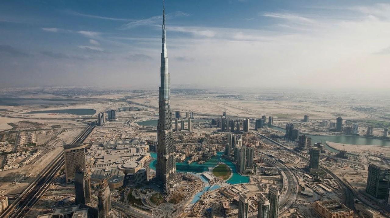 Aerial shot of Dubai