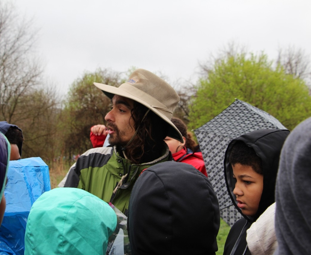 Student leads ornithology walk at UC Center for Field Studies.