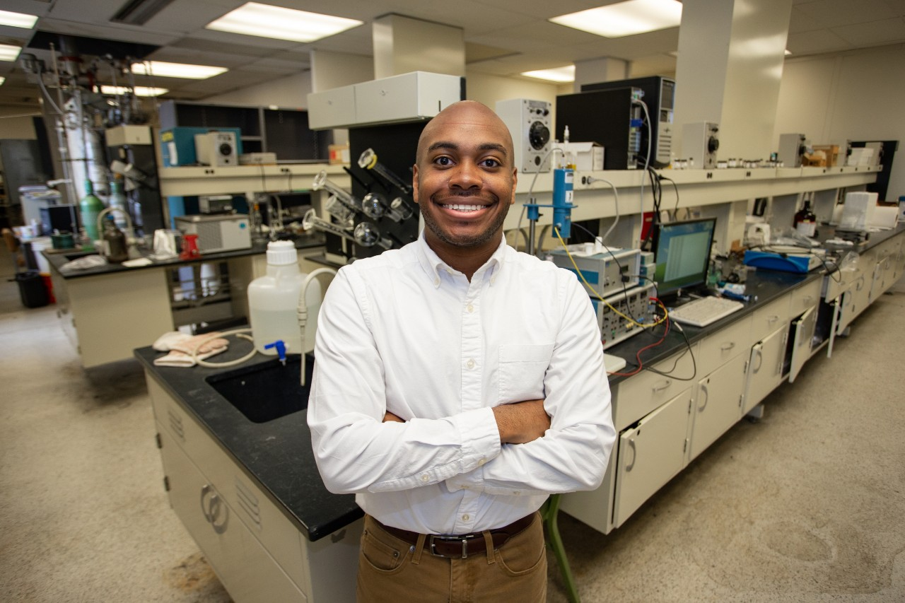 Rickey Terrell stands in a UC chemical engineering laboratory