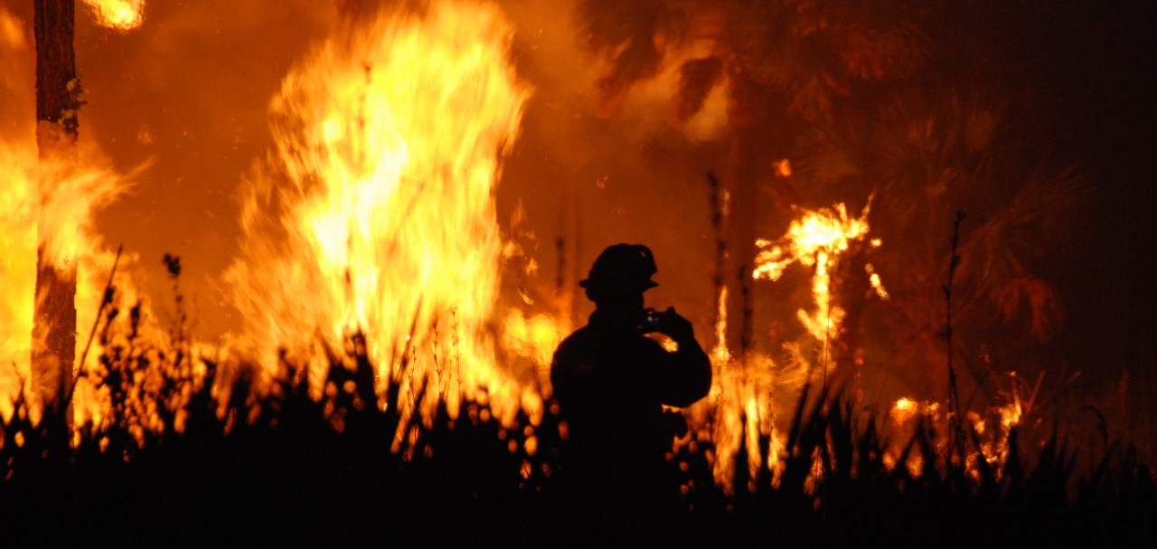 A firefighter is silhouetted against the backdrop of a forest fire in Florida.