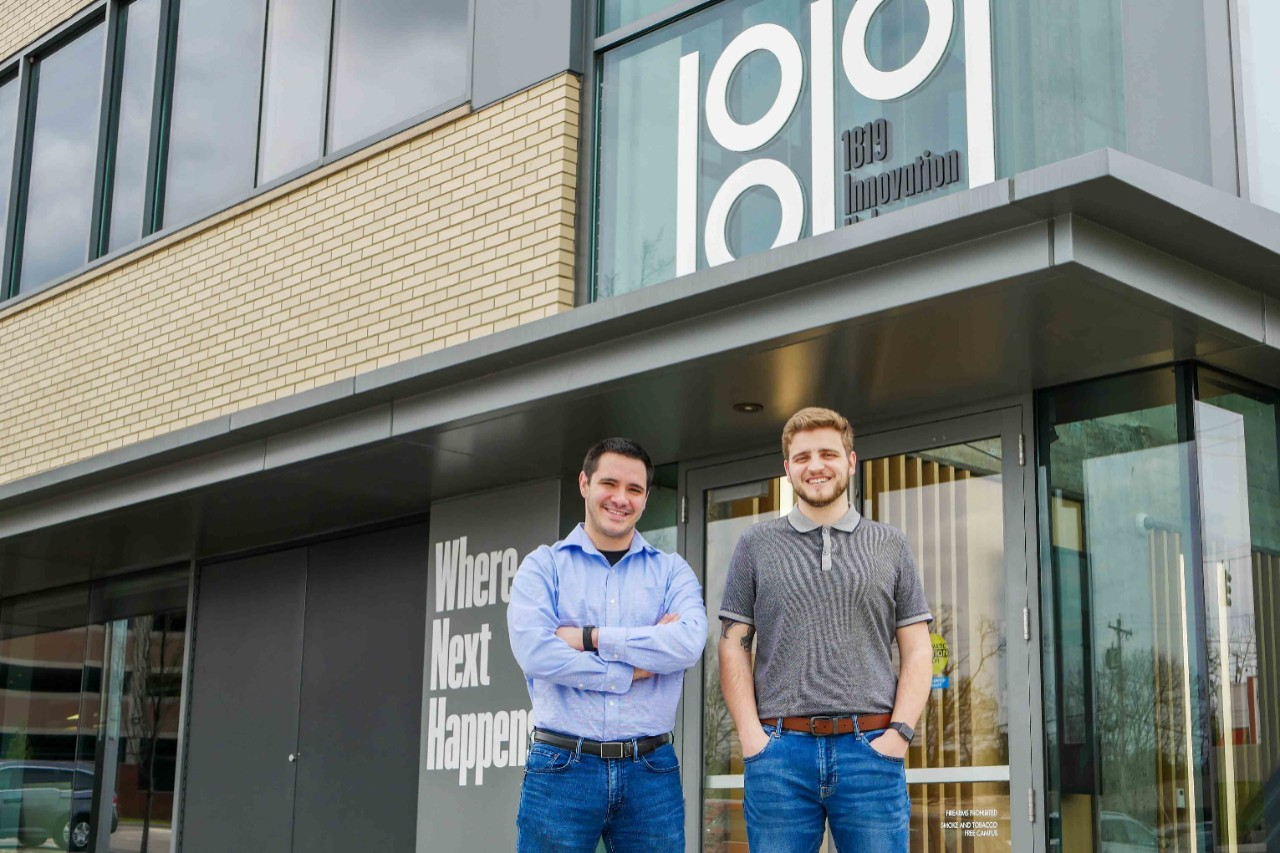 Mace and Brunton stand outside Innovation Hub