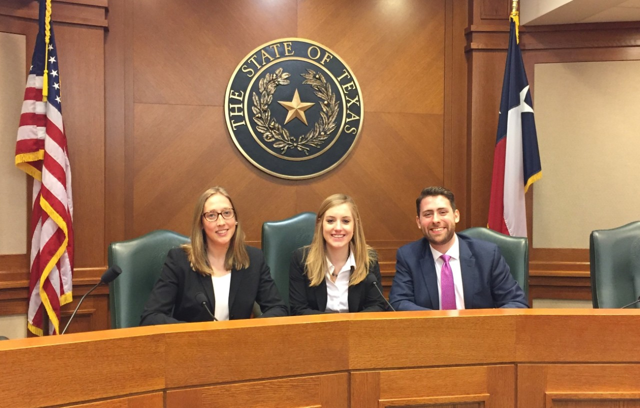 Students in Texas courtroom.