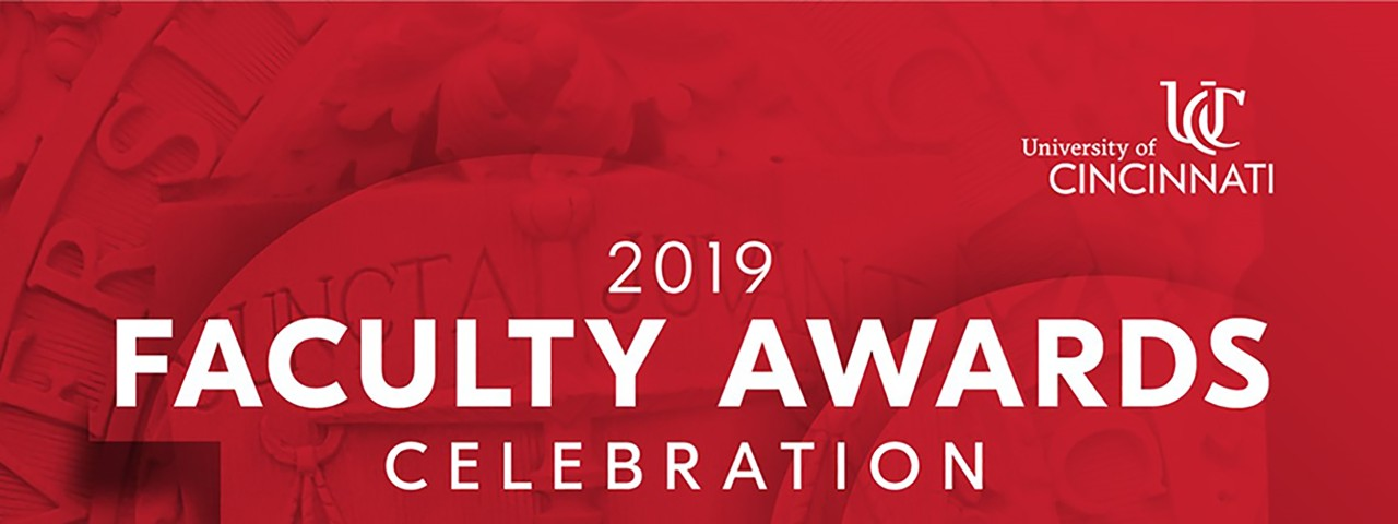 Image that says 2019 Faculty Awards Celebration on red background