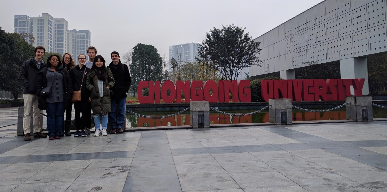 Laura Stegner and several UC engineering students stand with their Chinese exchange peers at Chongqing University in China.