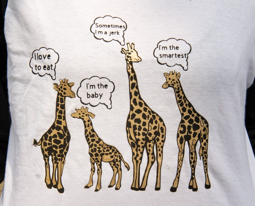 """A closeup of the T-shirt shows four giraffes with word bubbles that say """"I love to eat,"""" """"I'm the baby,"""" """"Sometimes I'm a jerk"""" and """"I'm the smartest."""""""