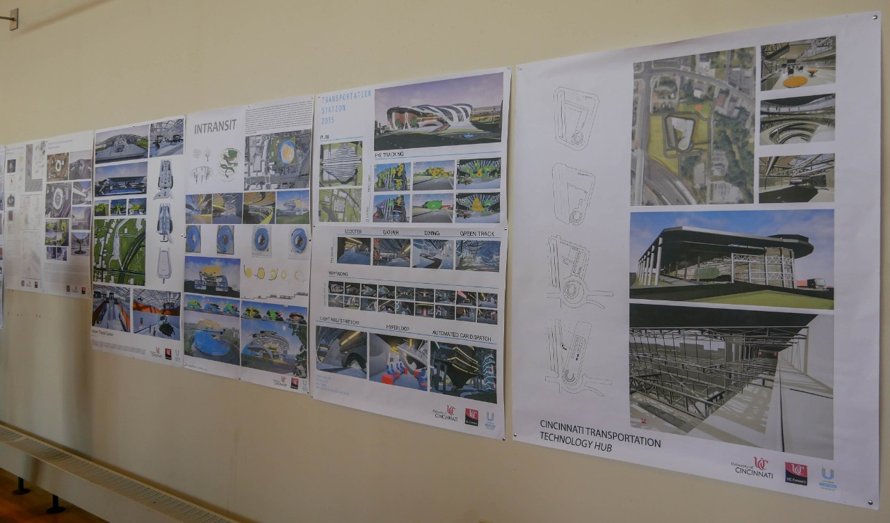 posters of transportation hub designs on wall