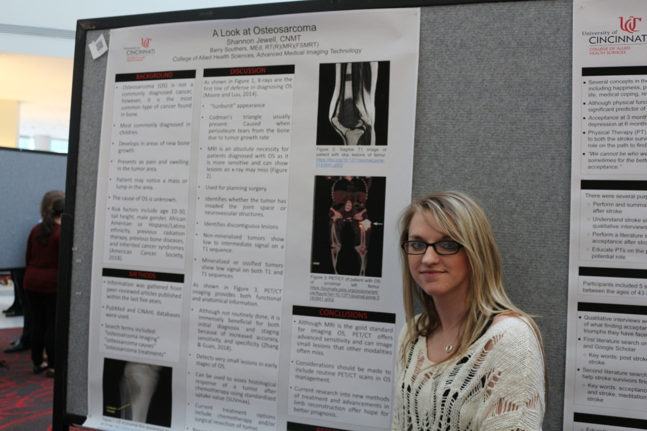 AMIT student Miranda Terry with her research poster. Photo/Kaitlyn Maxwell/CAHS marketing