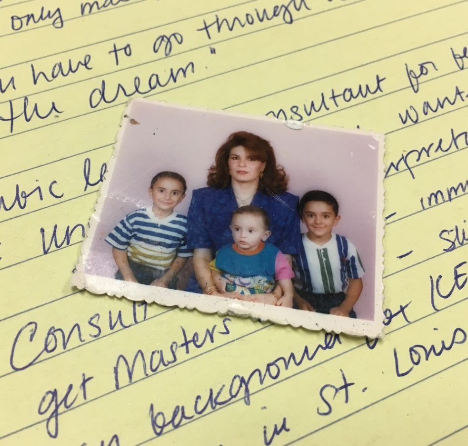 A family photo of Rash Aabdelwahed, his mother and two brothers.
