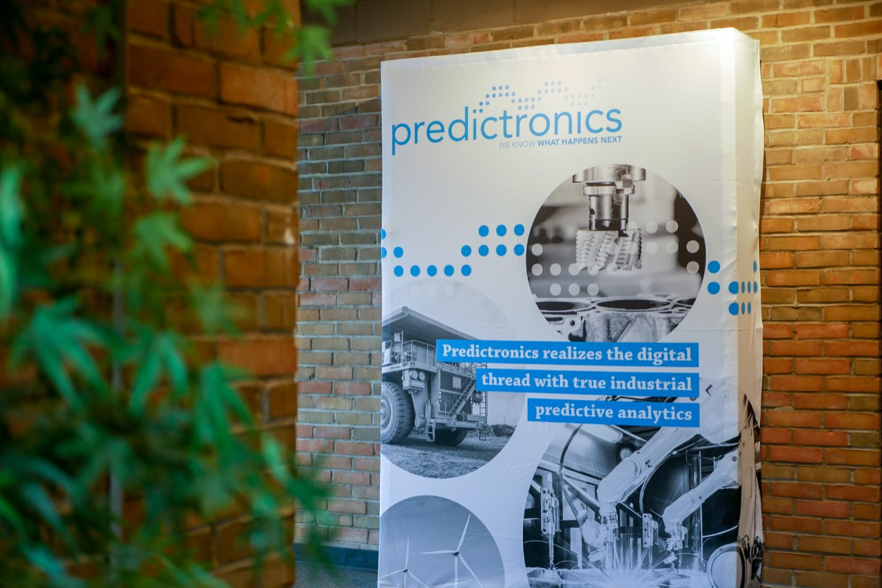 sign of predictronics logo outside of office