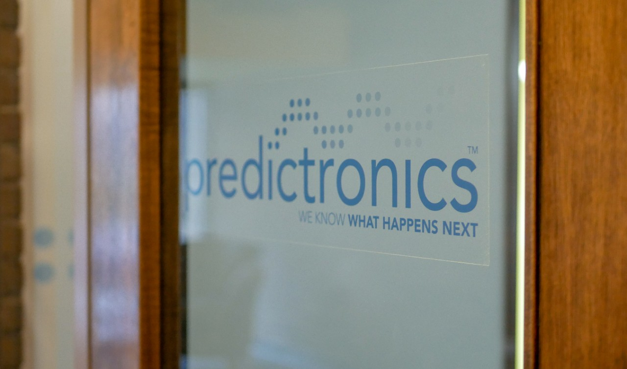 outside of predictronics door with logo