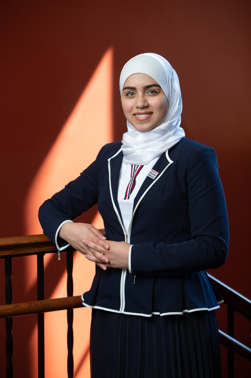 Mariam Elgafy stands inside UC's Teacher-Dyer Hall.