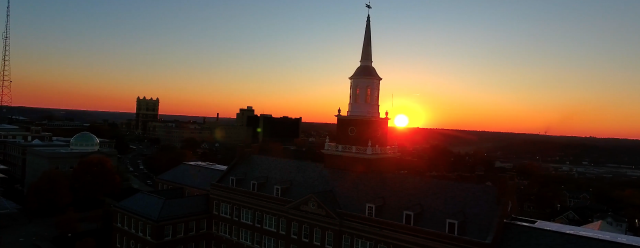 Sunset over UC's McMicken tower