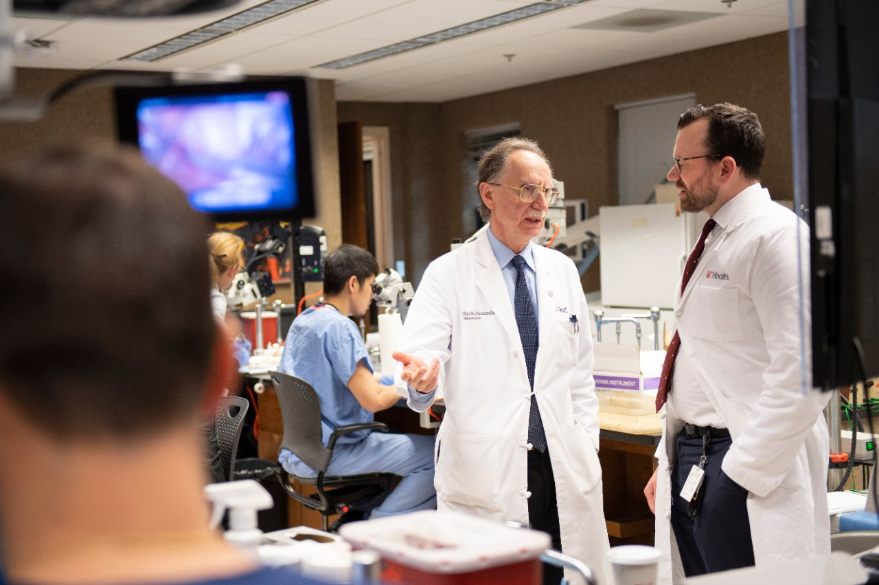 In the Goodyear Lab, Dr. Mario Zuccarello,  speaks with Dr. Jonathan Forbes