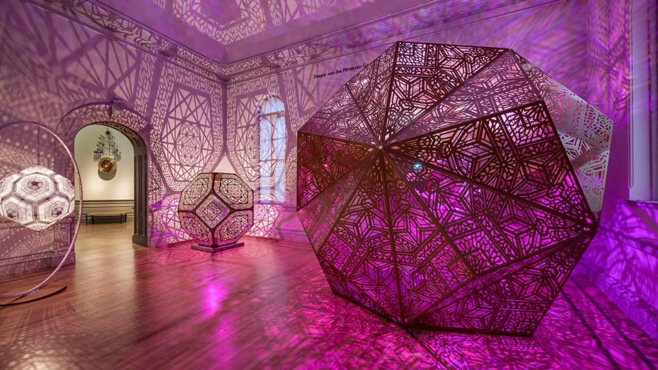 Art museum installation with geometric projections