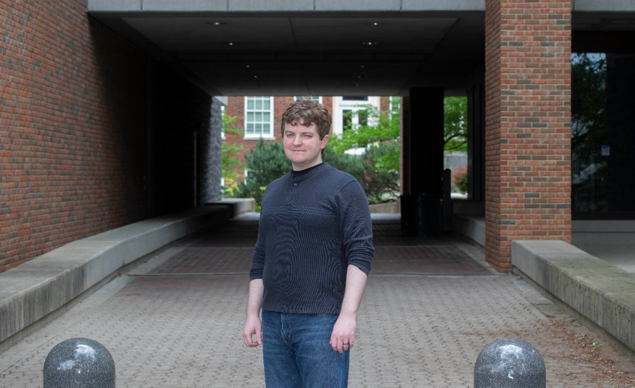 Jacob Todd poses outside the Geo-Phys building.