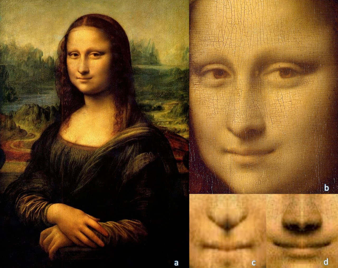 Collage of Mona Lisa painting with close-up of her smile.