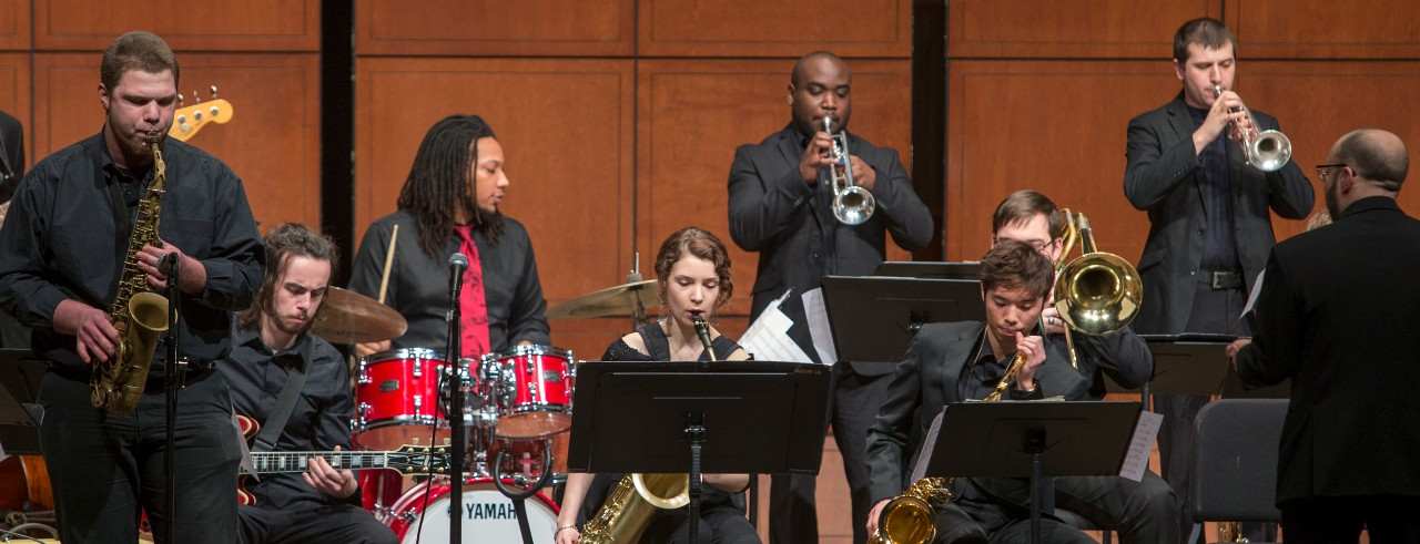 A performance photograph of the CCM Jazz Orchestra in concert in 2016.