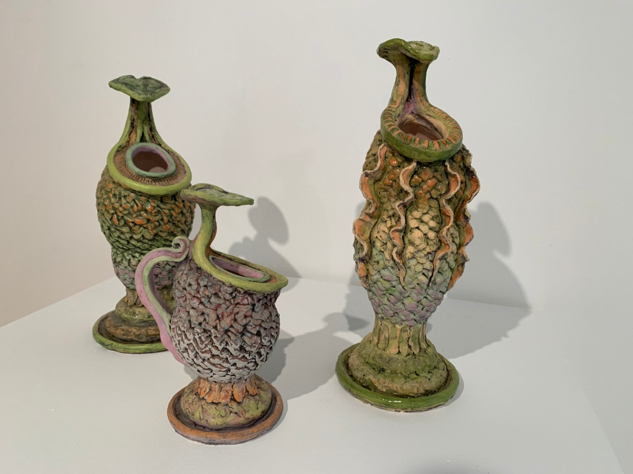 Pitcher Plants, Sharon Bladholm, ceramics, 2015 and 2019.