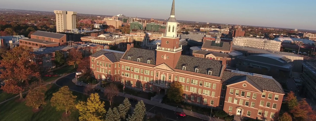 McMicken Hall at sunset in the fall