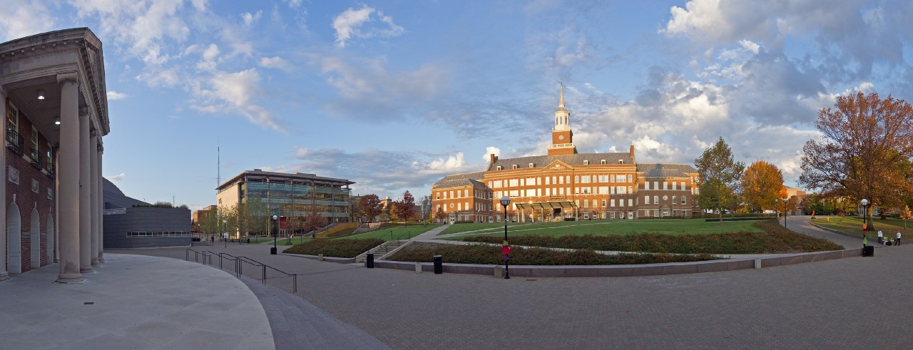 A panoramic view of campus and McMicken Hall.