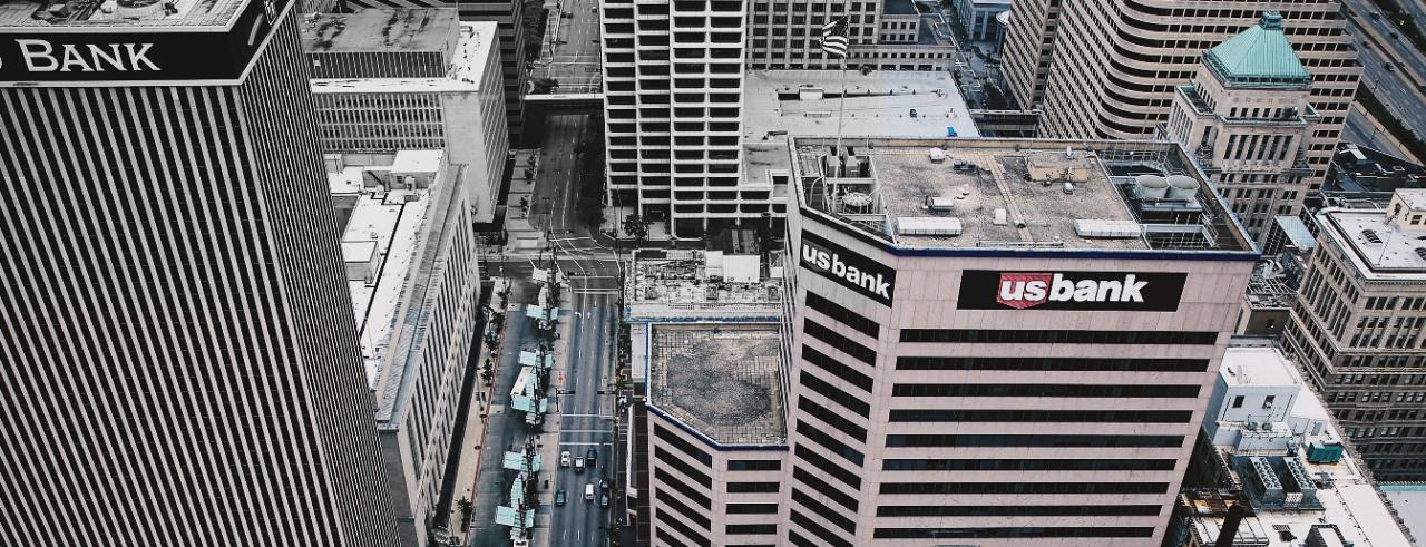 Aerial photo of downtown Cincinnati buildings