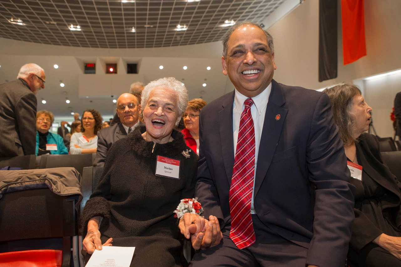 Marian Spencer with University of Cincinnati President Neville Pinto
