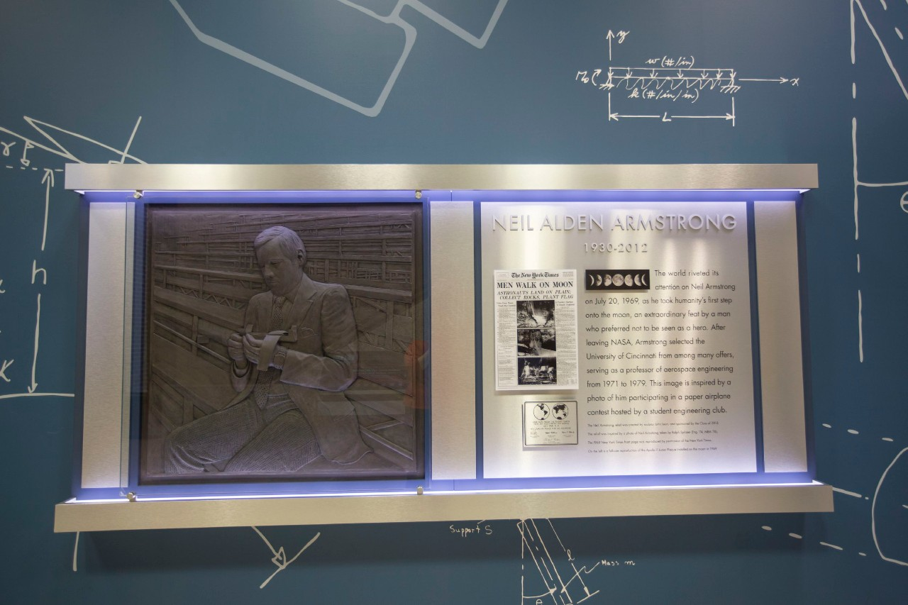 UC's Rhodes Hall has a tribute to Neil Armstrong in its lobby.