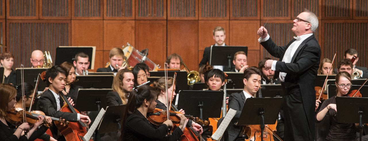 Students perform as part of the CCM Philharmonia, conducted by Professor Mark Gibson. Photo by Joe Fuqua II/UC Creative Services.