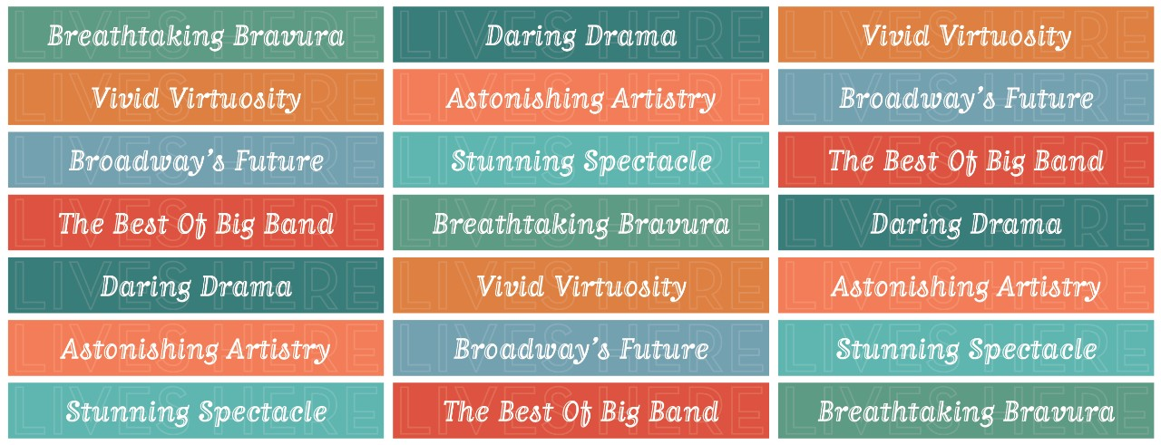 A decorative graphic featuring buzzwords describing CCM's upcoming series of concerts and shows.