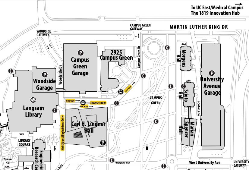 Map of UC's West Campus near the new Carl H. Lindner College of Business