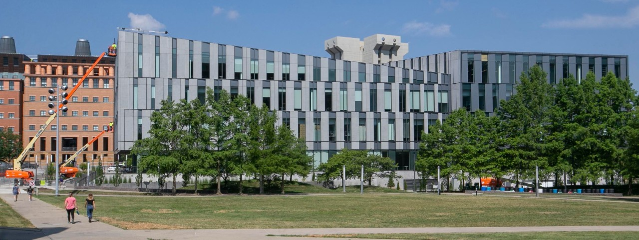 Side view of UC's new Carl H. Lindner College of Business.