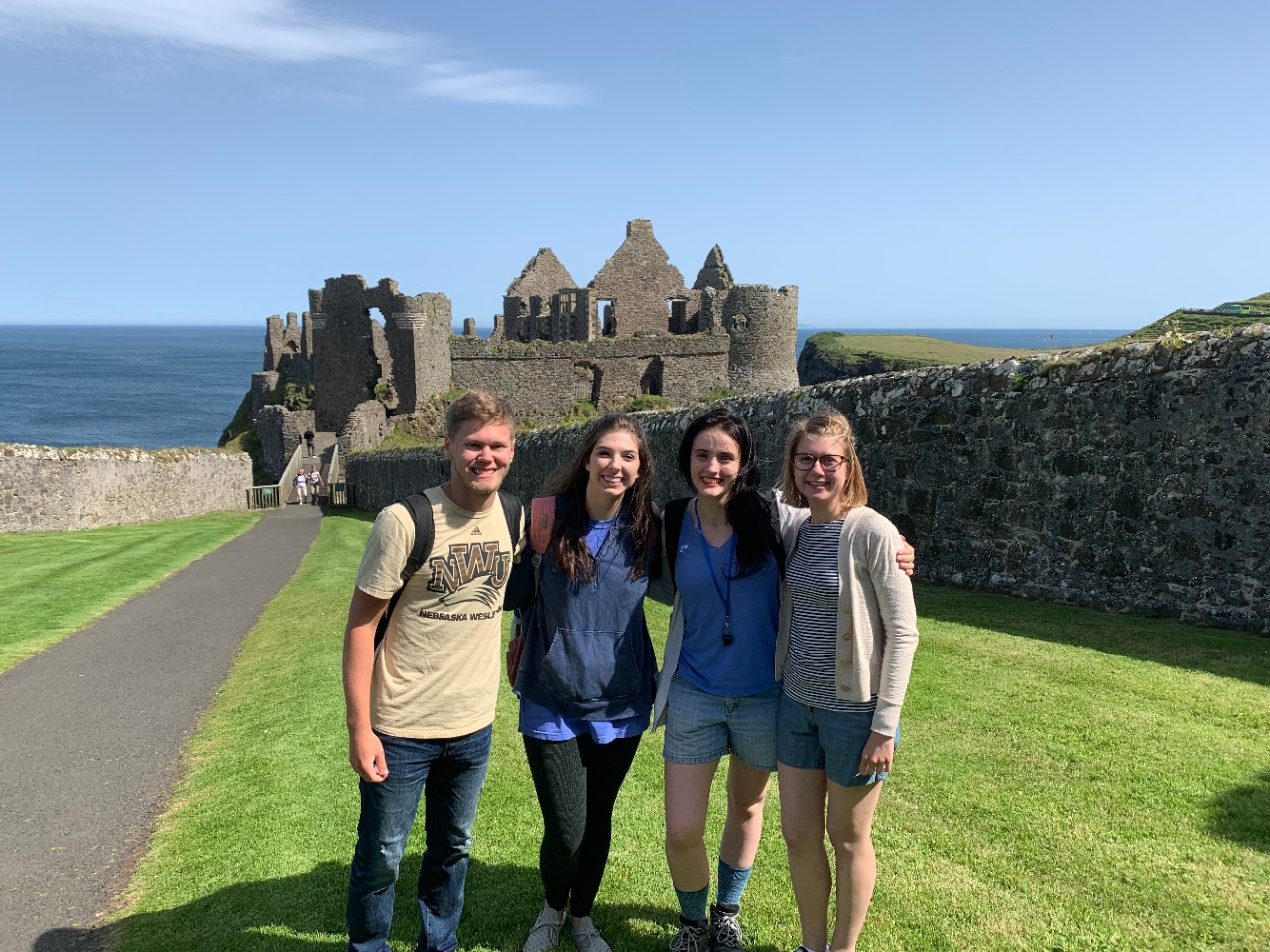 Chloe Elleman, far right, and other students in the Fulbright UK Summer Institute study program at Dunluce Castle in Northern Ireland.
