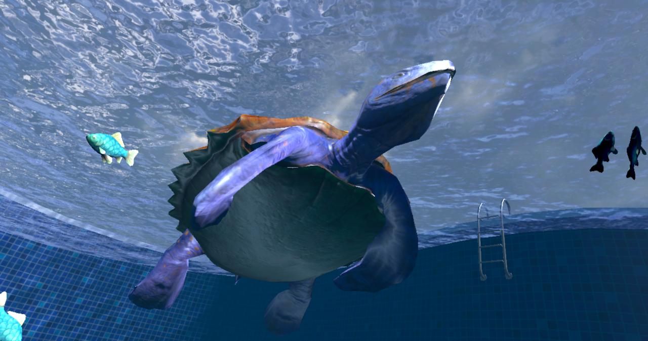 Underwater scene featuring a prehistoric turtle and fish from a virtual reality study.