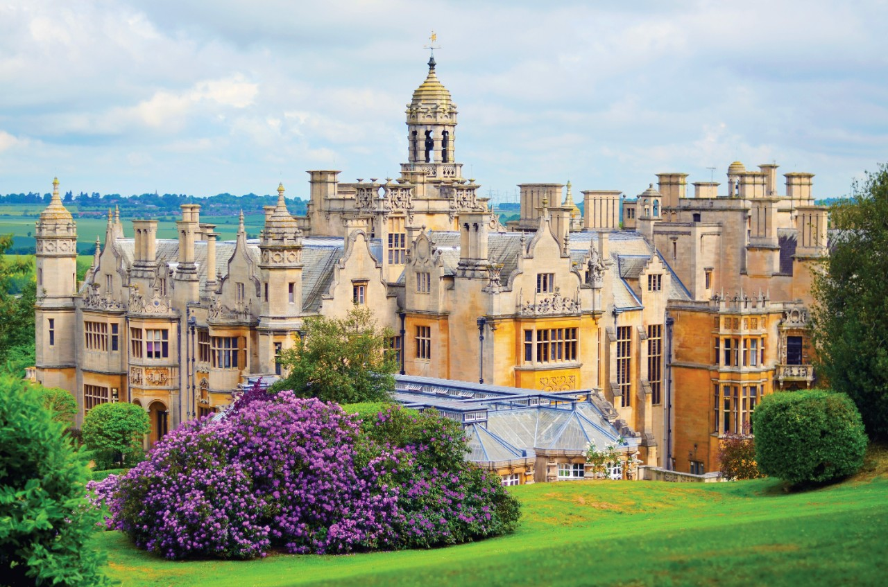 Exterior of Harlaxton Manor in England