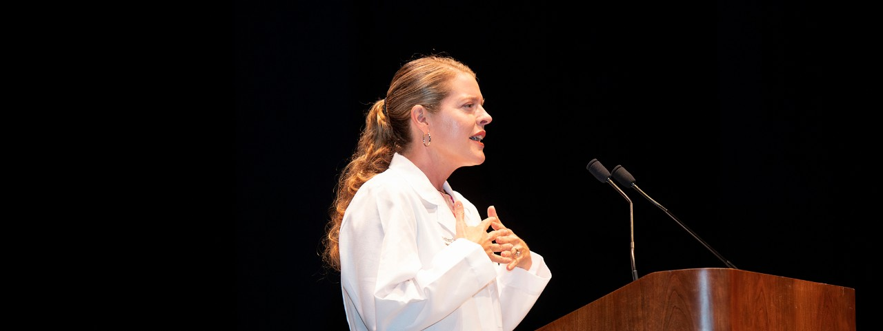 Tiffiny Diers, MD, keynotes the 2019 White Coat Ceremony for the UC College of Medicine.