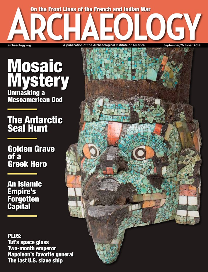 Cover of Archaeology magazine showing a Greek artifact