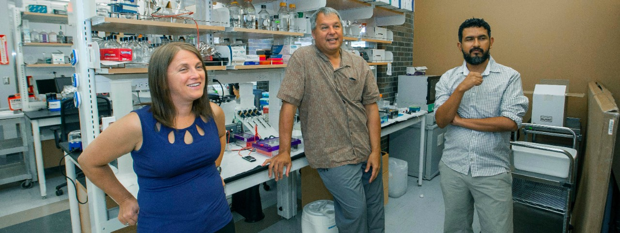 UC professors Lucinda Lawson, left, and Kenneth Petren talk about their research in a biology lab with UC graduate student Jose Barreiro.