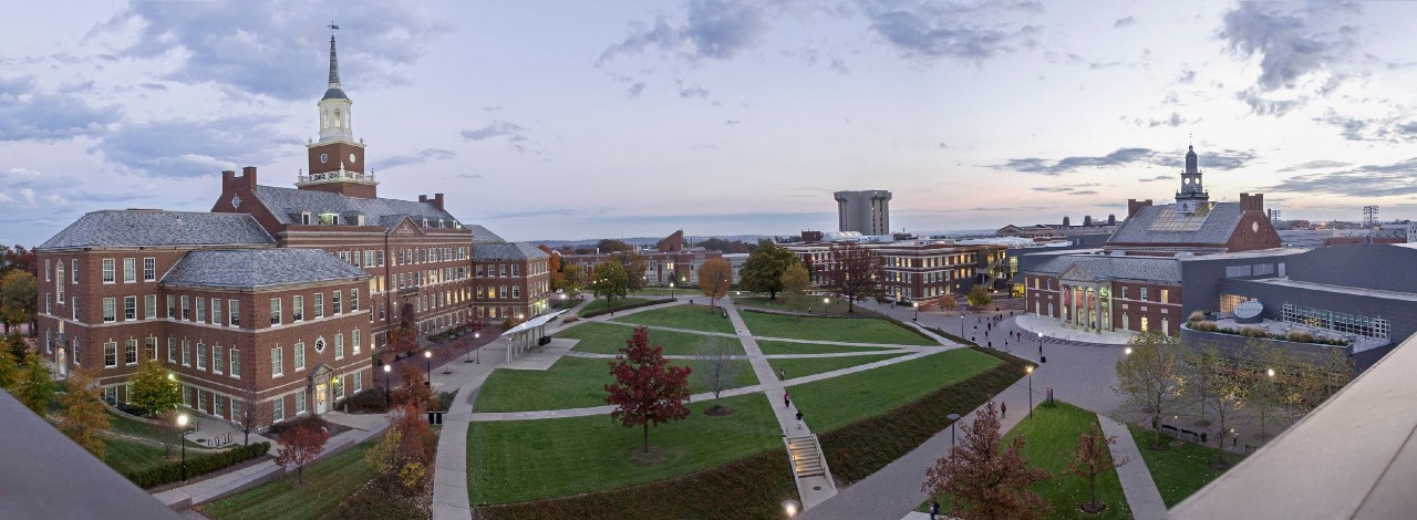 Panoramic shot of campus buildings and green space