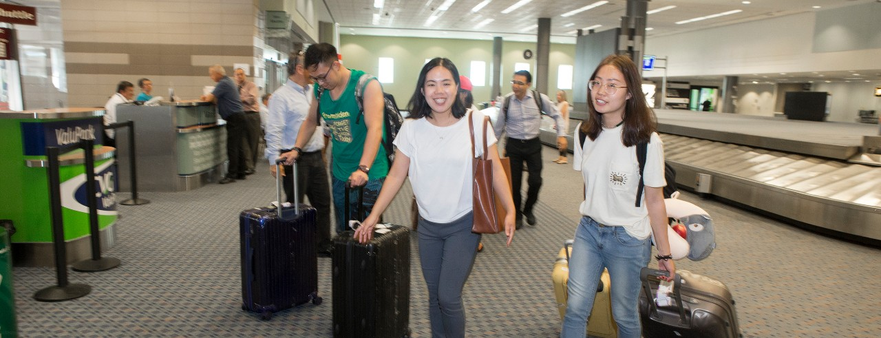 Students from China arrive at Cincinnati-Northern Kentucky International Airport to begin classes at UC.