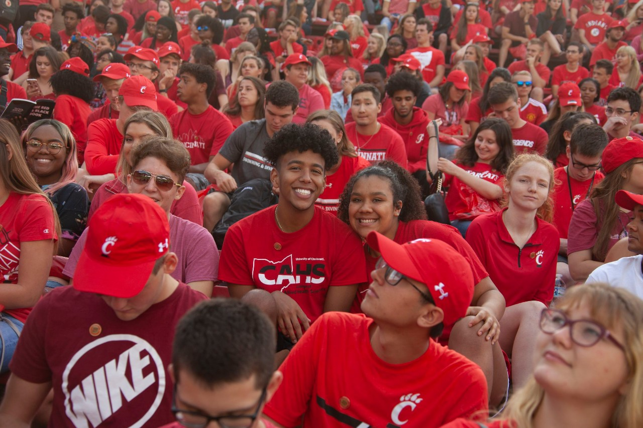Diverse crowd of students in red