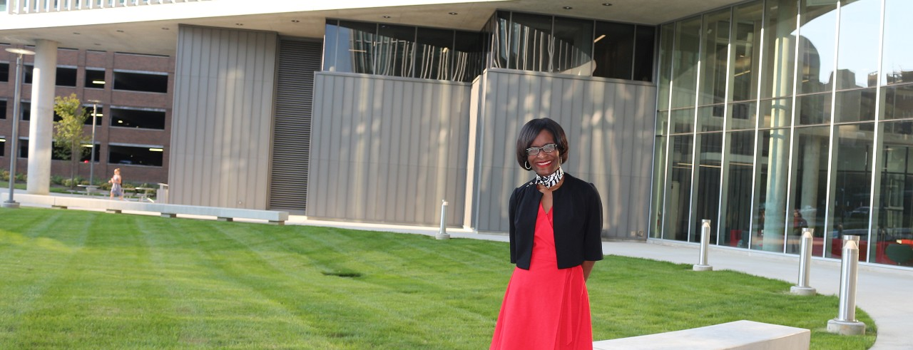 Karla Washington stands in front of the Heatlh Sciences Building