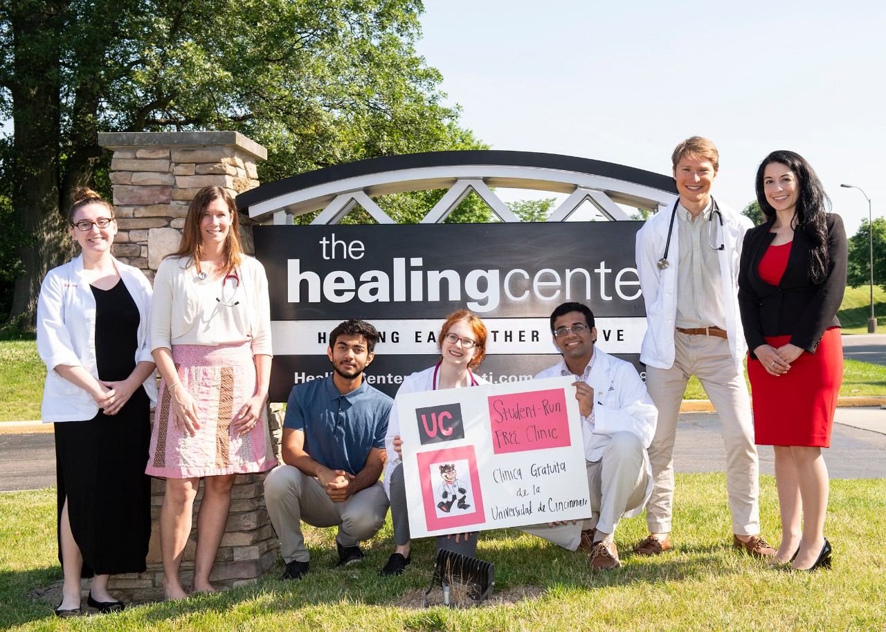 Group photo of students and faculty running the free health clinic