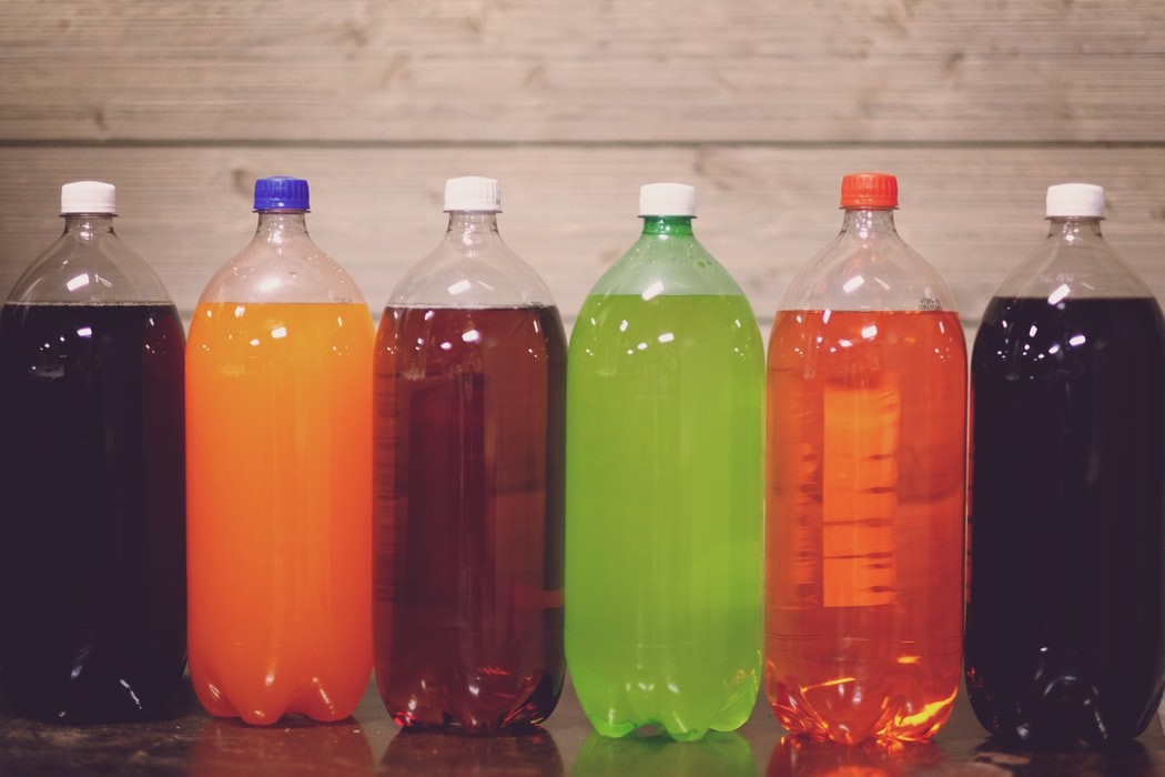 picture of several plastic soda bottles